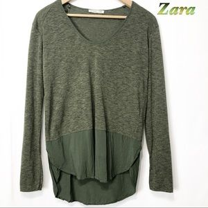 Zara-Dark Green Marl Mix Fabric long sleeve Top SM